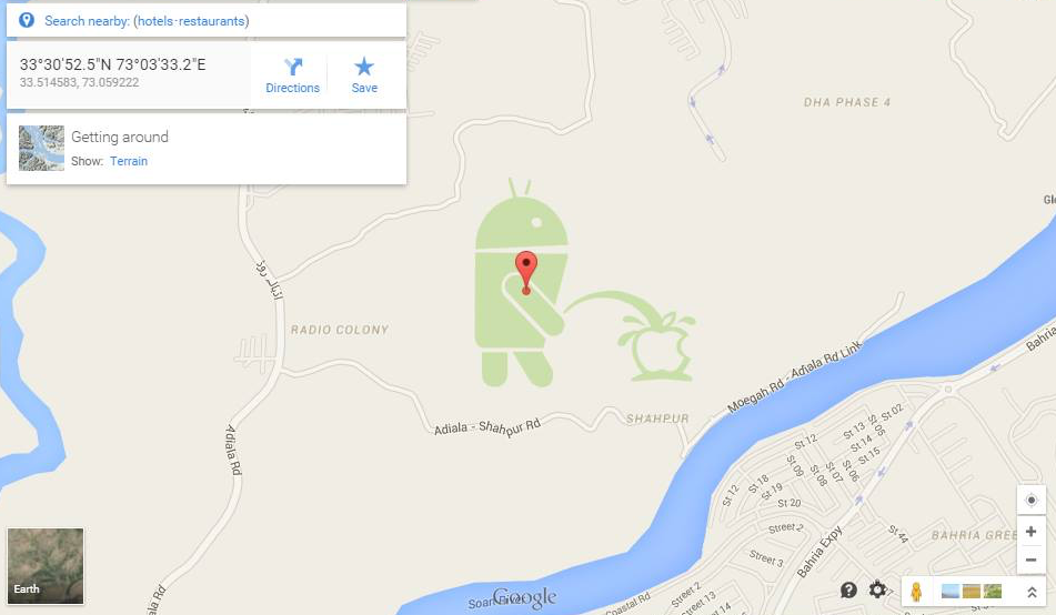 Android bot peeing at Apple logo